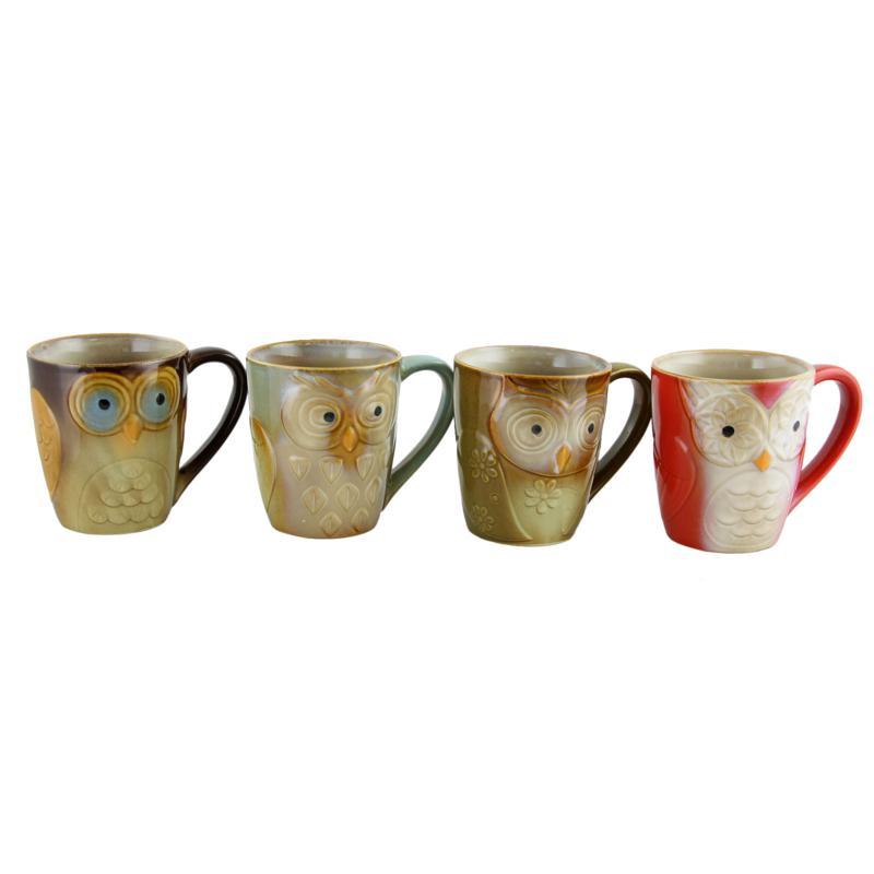 Gibson Owl City Owl-Shaped 4-piece Mug Set