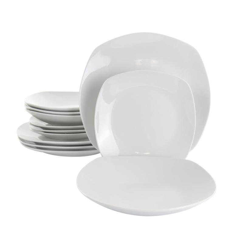 GibsonHome Classic Pearl 12Pc Square Fine Ceramic Dinnerware Set White