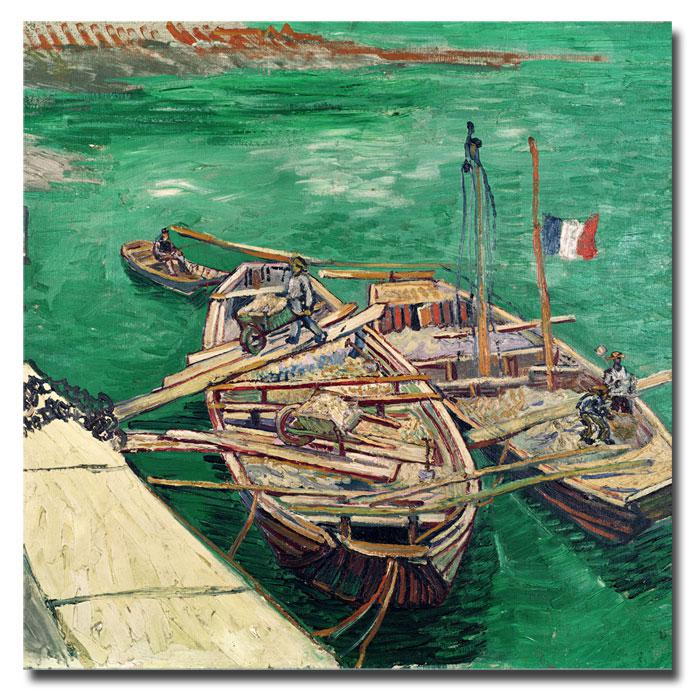 """Giclee Print - Landing Stage with Boats 14"""" x 14"""""""