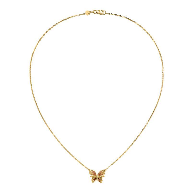 Golden Treasures 14K Gold Diamond-Cut Pink Enamel Butterfly Necklace