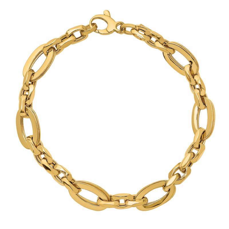 Golden Treasures 14K Italian Gold Oval-Link Bracelet