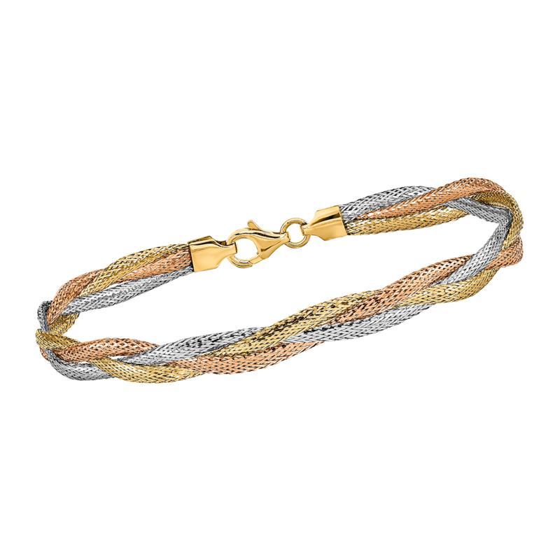 Golden Treasures 14K Italian Tri-Colored Gold Stretch Bracelet