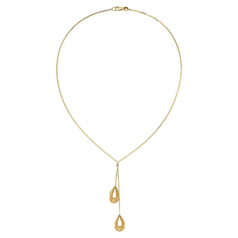 Golden Treasures 14K Open Pear Double Drop Dangle Necklace