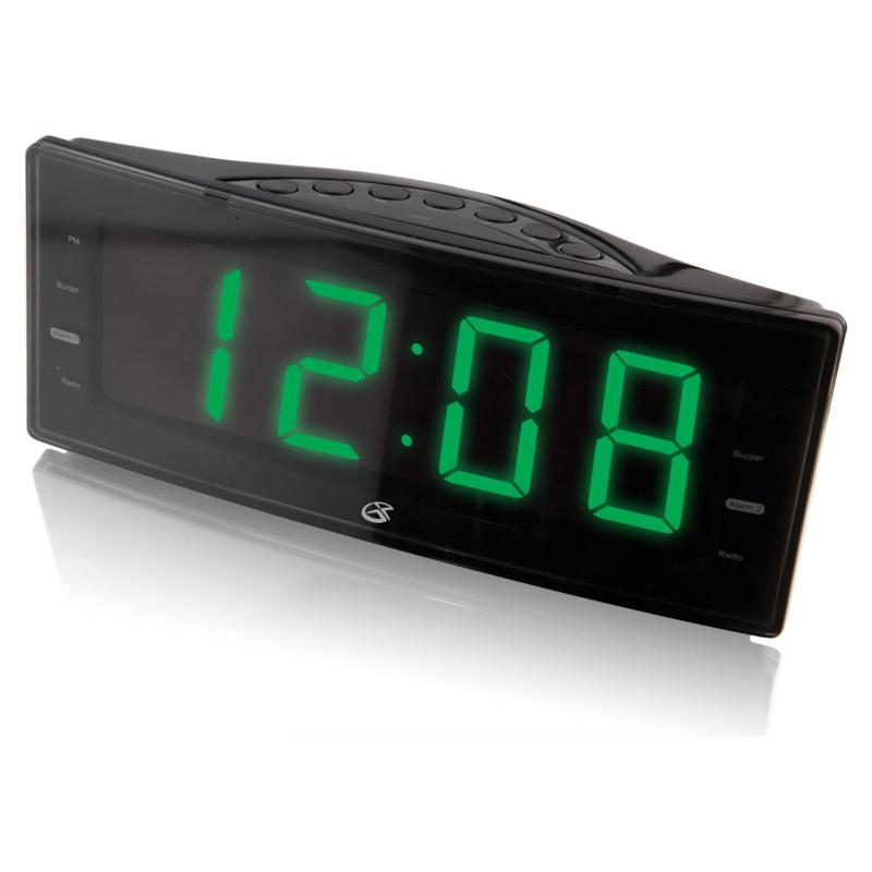 GPX AM/FM Clock Radio with Easy Read LED Display and Dual Alarm