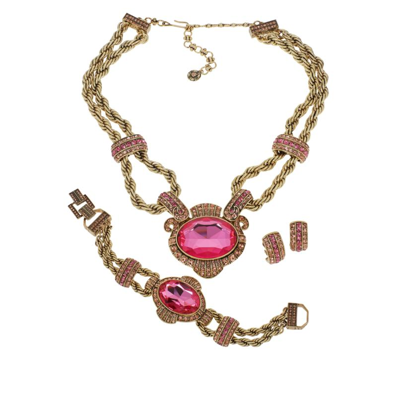 """Heidi Daus """"Chain of Events"""" Necklace, Bracelet and Earrings 3pc Set"""
