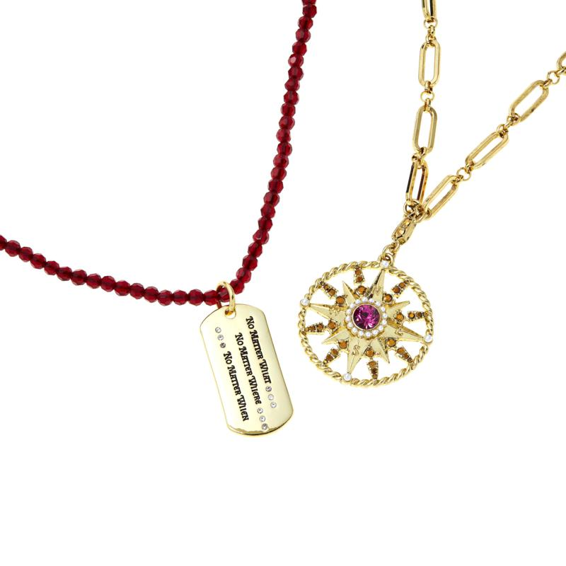Heidi Daus Compass and Dog Tag 2-piece Chain and Beaded Necklace Set