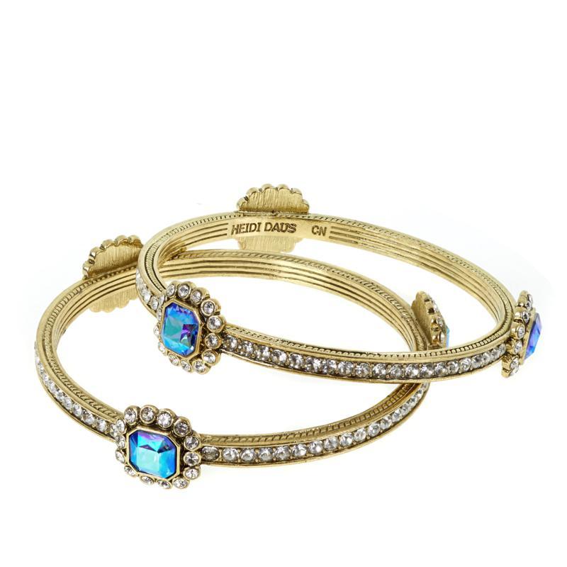 "Heidi Daus ""Fancy"" Bangle Bracelet 2-piece Set"