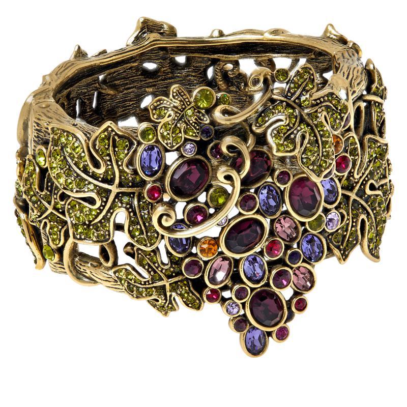 "Heidi Daus ""Que Shiraz"" Big Grapes Crystal Hinged Bangle Bracelet"