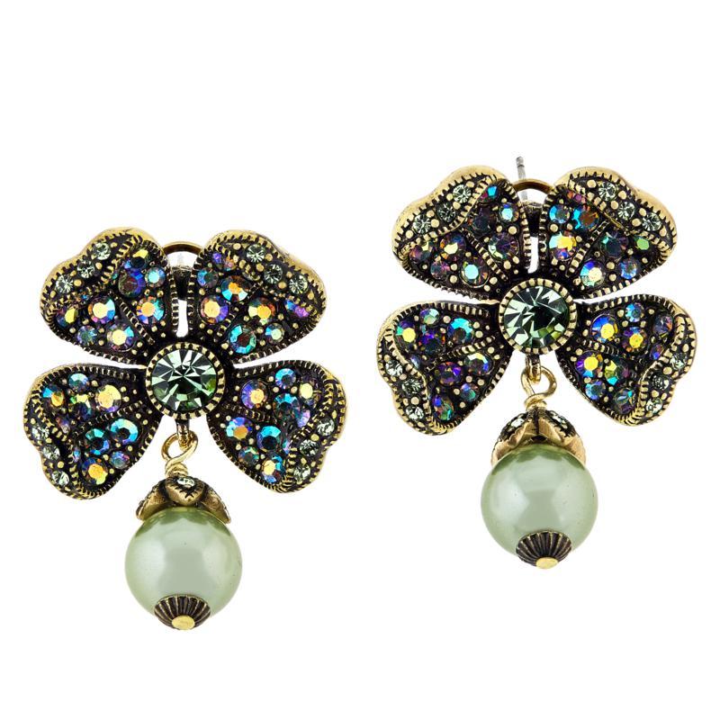 """Heidi Daus """"St. Sparkle"""" Four Leaf Clover Crystal Earrings"""