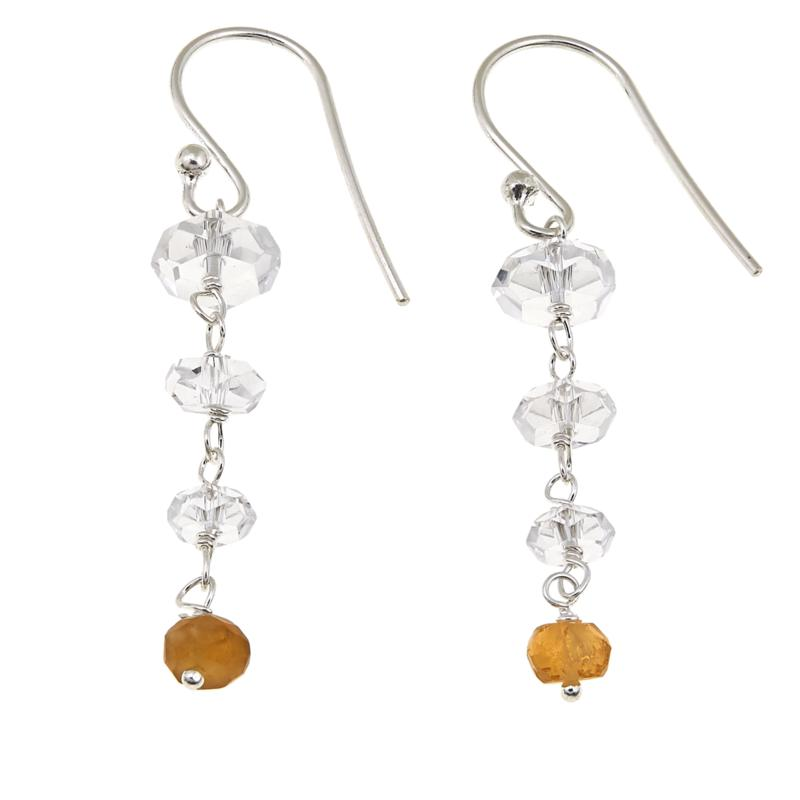 "Herkimer Mines 3.7ctw ""Diamond"" Quartz and Citrine Drop Earrings"