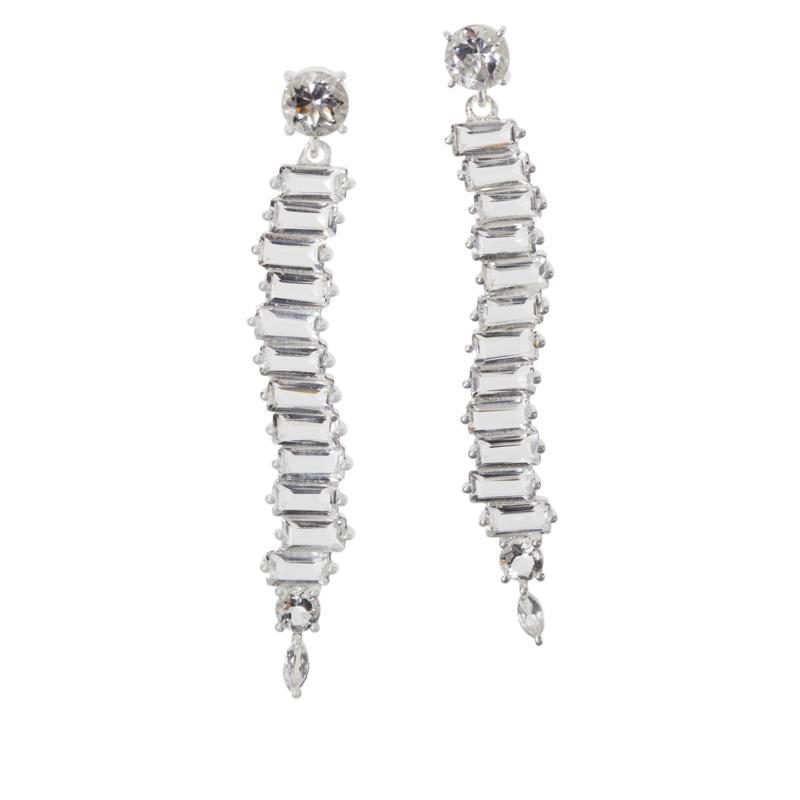 "Herkimer Mines Baguette-Cut ""Diamond"" Quartz Dangle Drop Earrings"