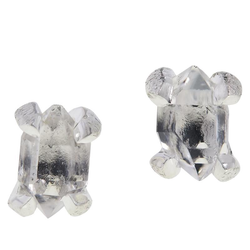 """Herkimer Mines """"Diamond"""" Quartz Freeform Stone Stud Earrings"""