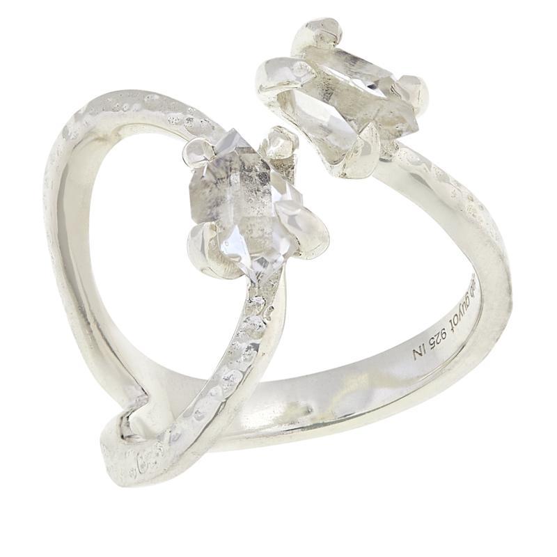 "Herkimer Mines ""Diamond"" Quartz Wavy Texture Ring"