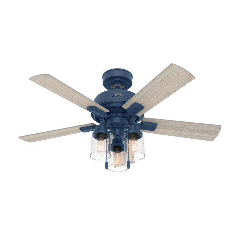 "Hunter 44"" Hartland Indigo Blue Ceiling Fan w Light Kit & Pull Chain"