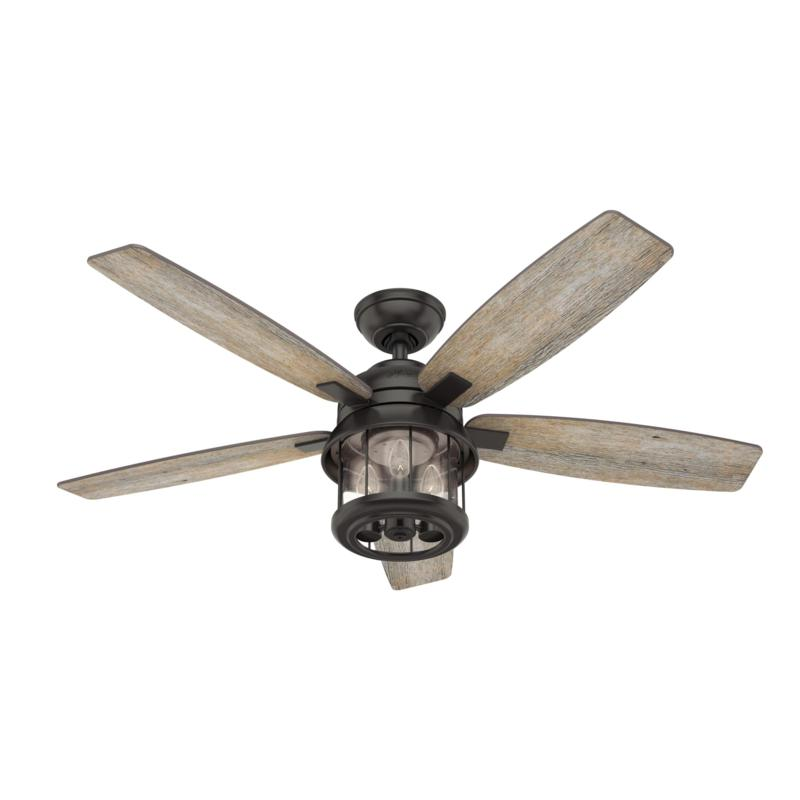 """Hunter 52"""" Coral Bay Noble Bronze Outdoor Ceiling Fan w/Light & Remote"""