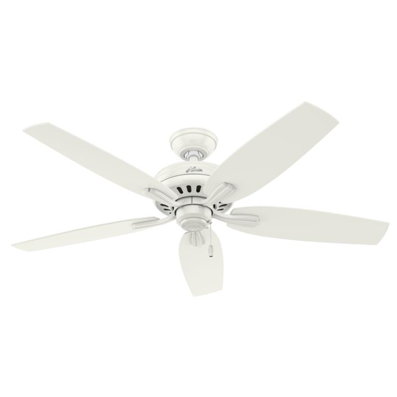 """Hunter 52"""" Newsome Fresh White Ceiling Fan with Pull Chain"""