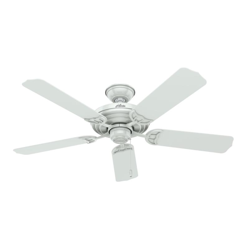 """Hunter 52"""" Sea Air Outdoor White Ceiling Fan with with Pull Chain"""
