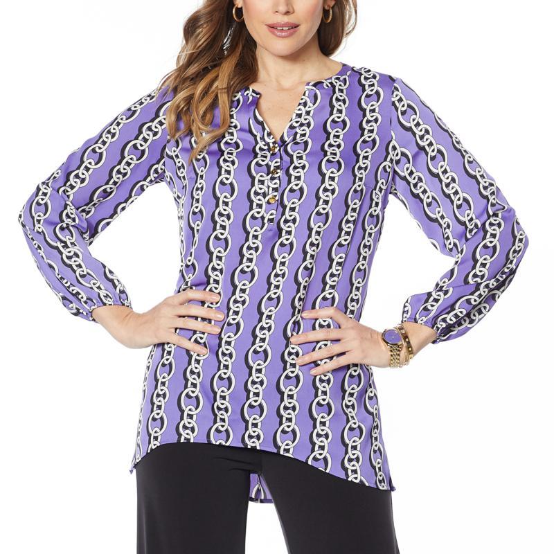 IMAN Global Chic Luxury Resort Printed Woven Tunic Top