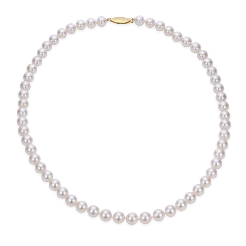 """Imperial Pearls 18"""" 14K Gold 7-7.5mm Cultured Akoya Pearl Necklace"""