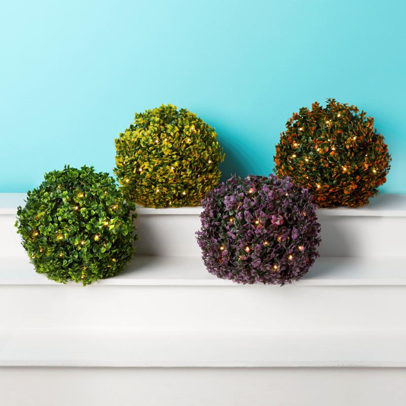 "Improvements 13"" Boxwood Sphere with Lights - Set of 2"