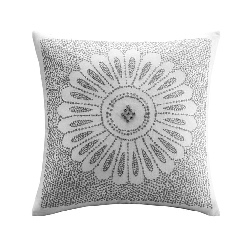 """INK+IVY Sofia Cotton Embroidered Decorative Pillow - Grey - 20"""" x 20"""""""