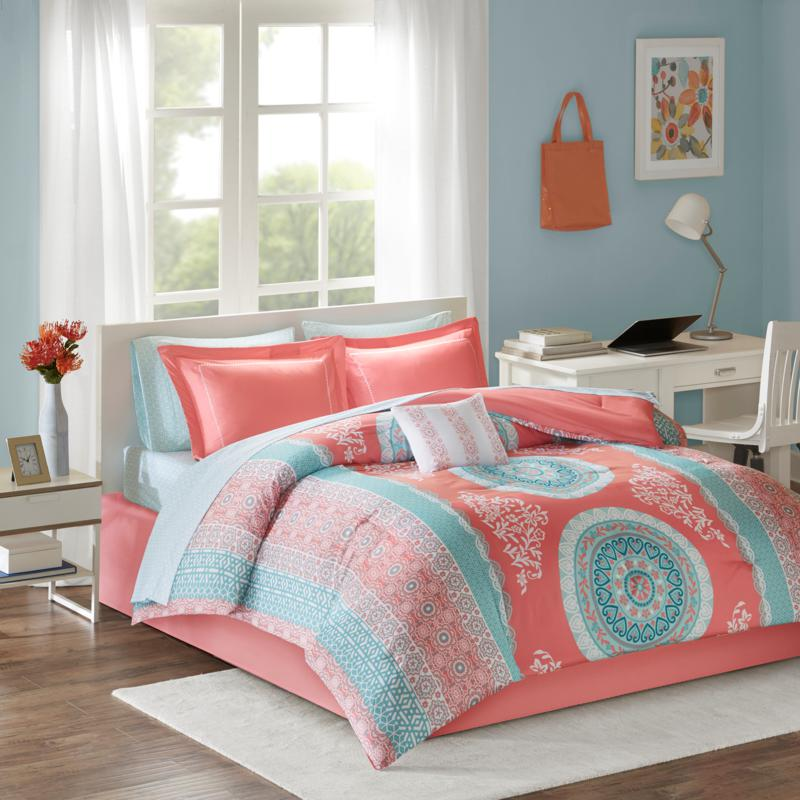 Intelligent Design Loretta Coral Twin XL Comforter and Sheet Set
