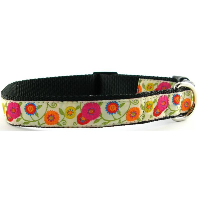 Isabella Cane Dog Collar - White Flowers S
