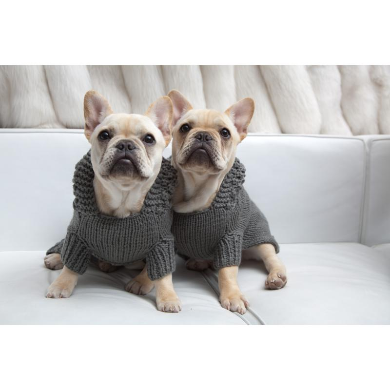 Isabella Cane Doggie Hoodie Sweater - Medium/Gray