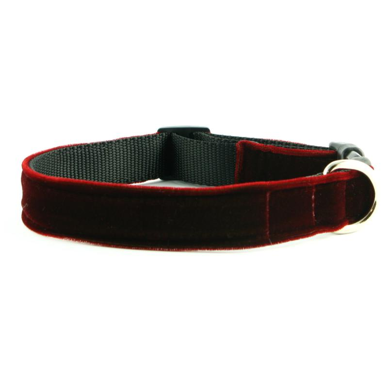 Isabella Cane Red Velvet Couture Dog Collar - XS