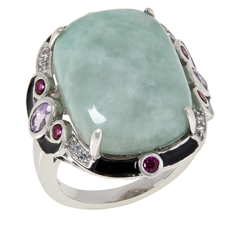 Jade of Yesteryear Cushion-Cut Jade and Multi-Stone Ring