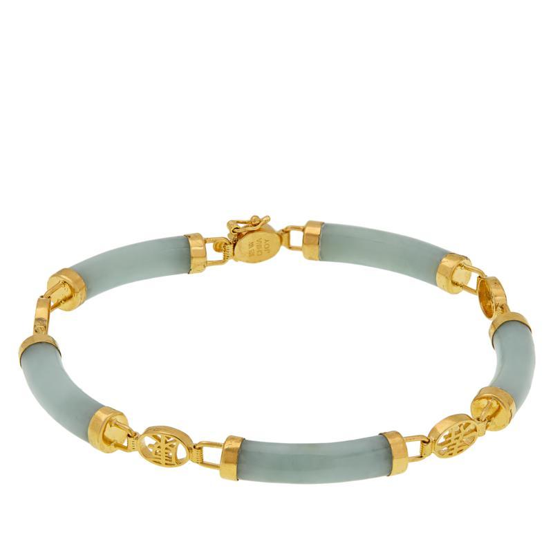 Jade of Yesteryear Goldtone Silver Macaroni-Shaped Station Bracelet