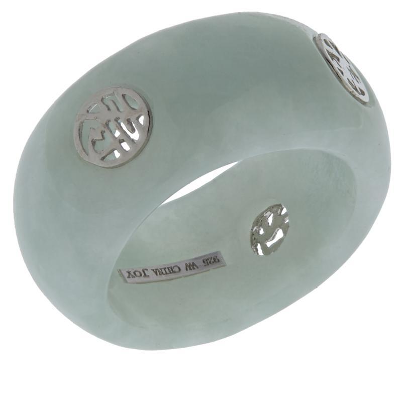 Jade of Yesteryear Inspirational Sterling Silver  Green Jade Ring