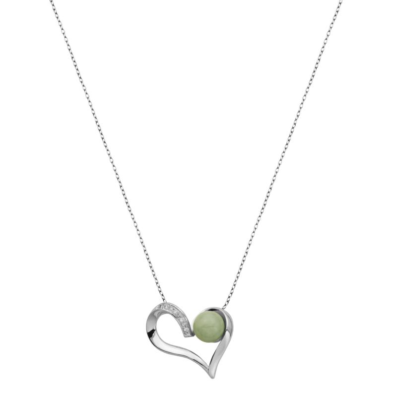 Jade of Yesteryear Jade and Cubic Zirconia Heart Pendant with Chain