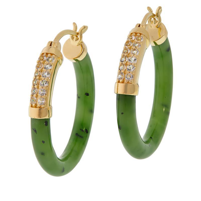 Jade of Yesteryear Jade and Gemstone Hoop Earrings