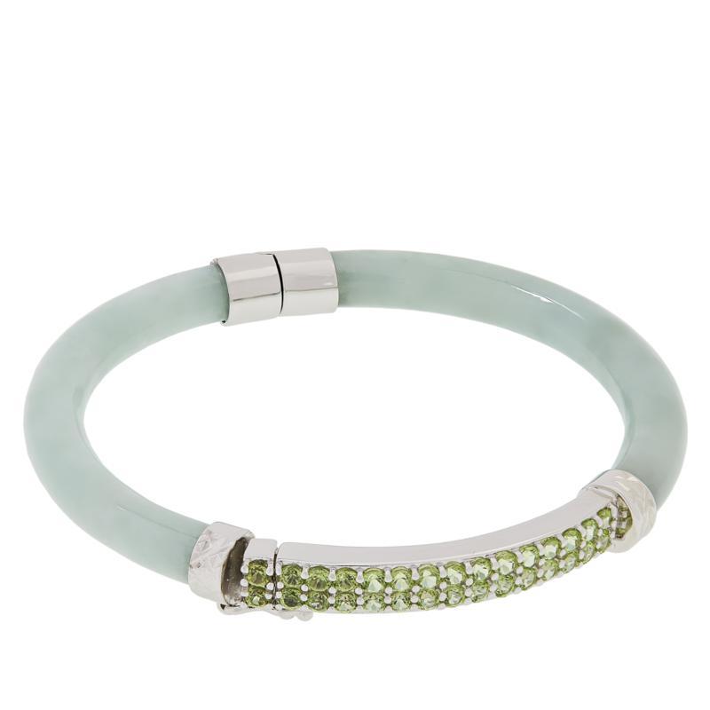 Jade of Yesteryear Jade and Semi-Precious Gemstone Bangle Bracelet