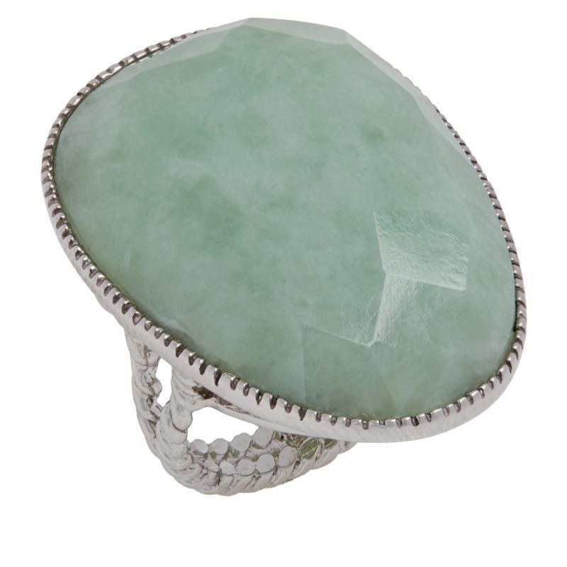 Jade of Yesteryear Sterling Silver Faceted Jade Ring