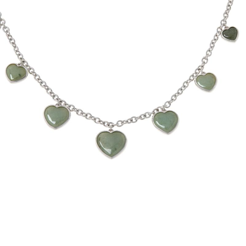 Jade of Yesteryear Sterling Silver Graduated Heart Charm Necklace