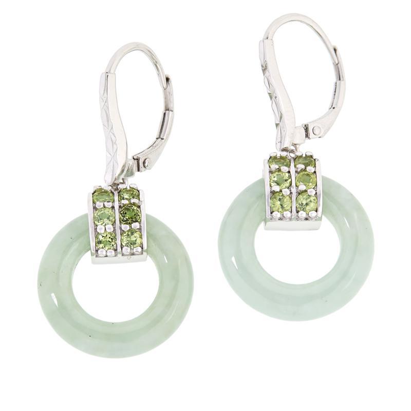 Jade of Yesteryear Sterling Silver Green Jade and Peridot Earrings