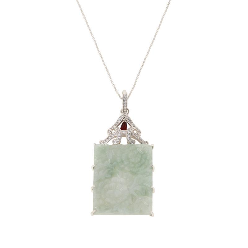 Jade of Yesteryear Sterling Silver Green Jade Floral Pendant