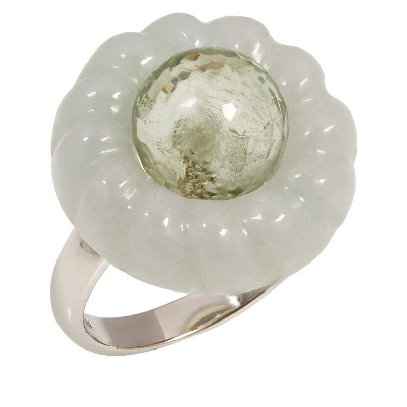 Jade of Yesteryear Sterling Silver Jade and Gem Cable Frame Ring