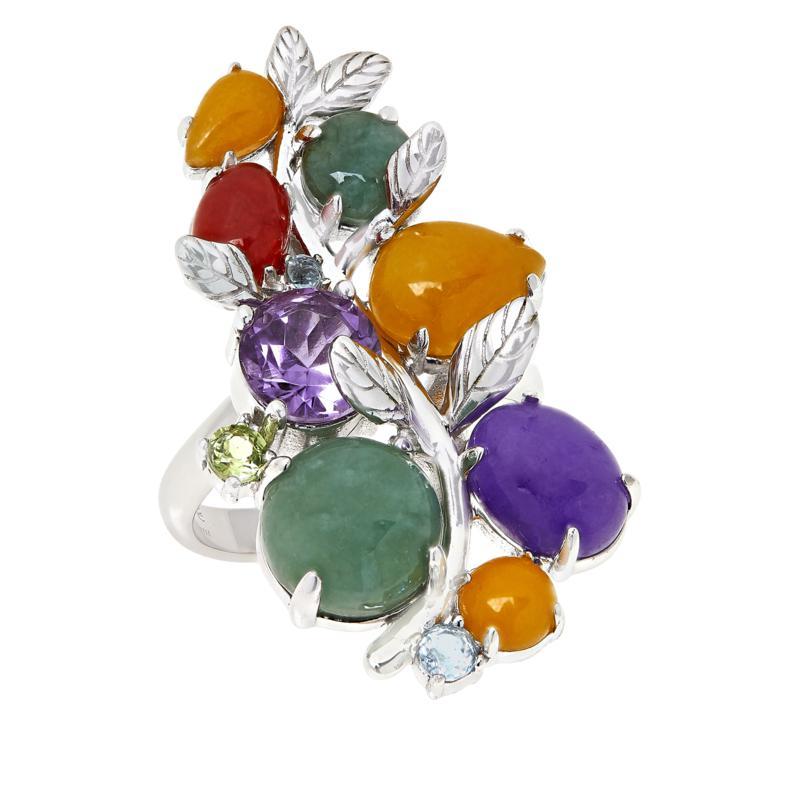 Jade of Yesteryear Sterling Silver Multigemstone Leaf Ring