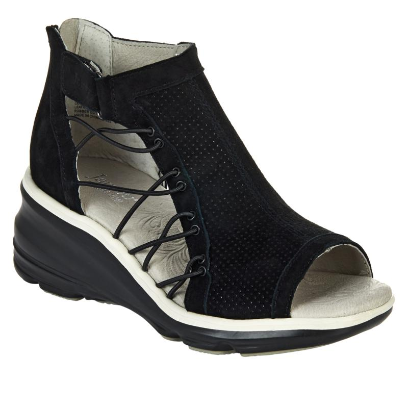 Jambu Originals Naomi Perforated Suede Wedge Sandal