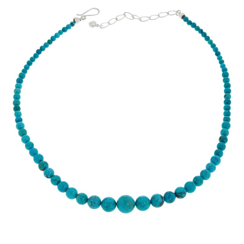"""Jay King 18"""" Cloudy Mountain Turquoise Graduated Bead Necklace"""