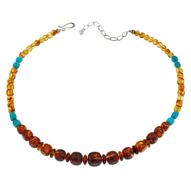 """Jay King 18"""" Sterling Silver Amber and Turquoise Beaded Necklace"""