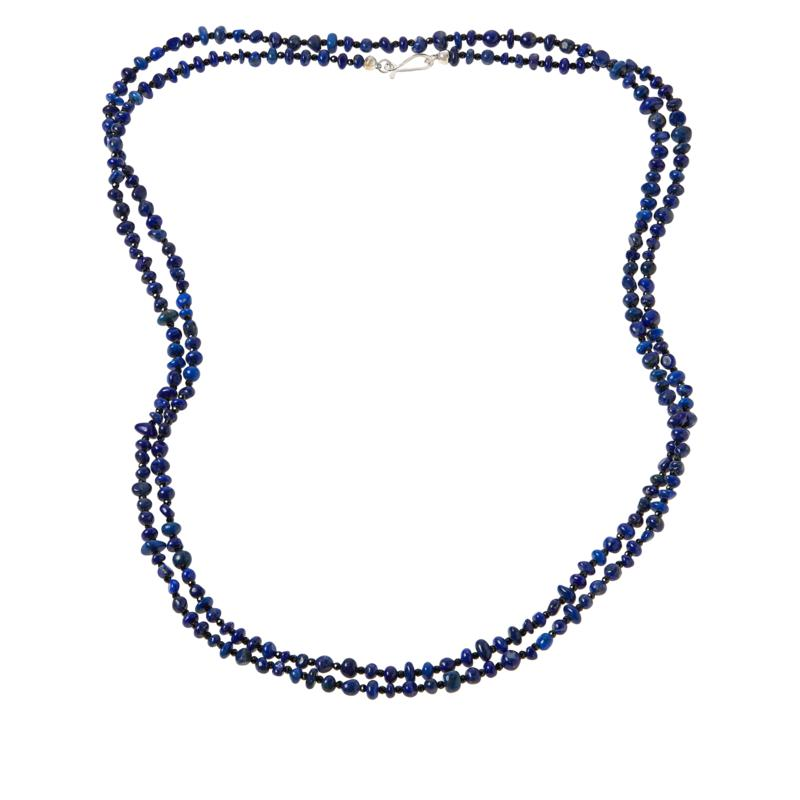 """Jay King 60"""" Sterling Silver Lapis and Black Spinel Bead Necklace"""