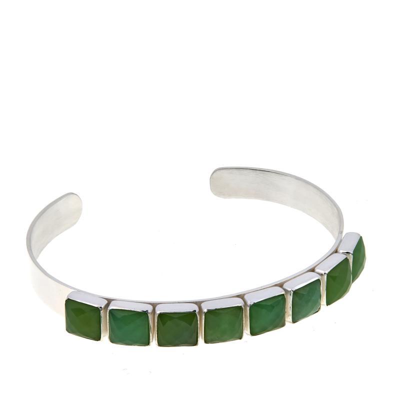 Jay King 8-Stone Chrysoprase Sterling Silver Cuff Bracelet