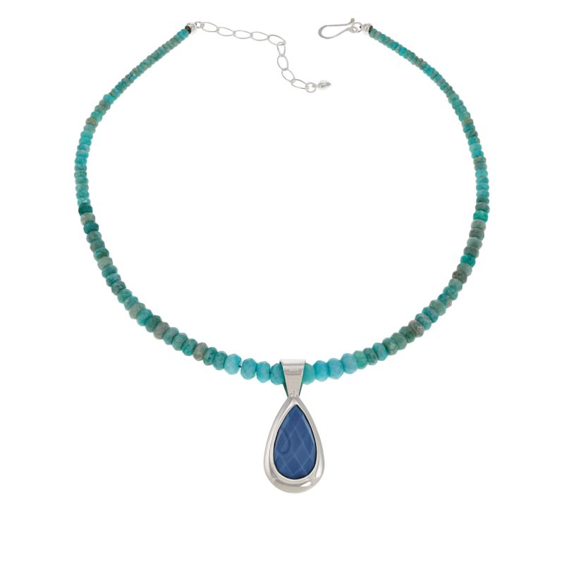 Jay King Amazonite and Dream Blue Opal Pendant-Necklace