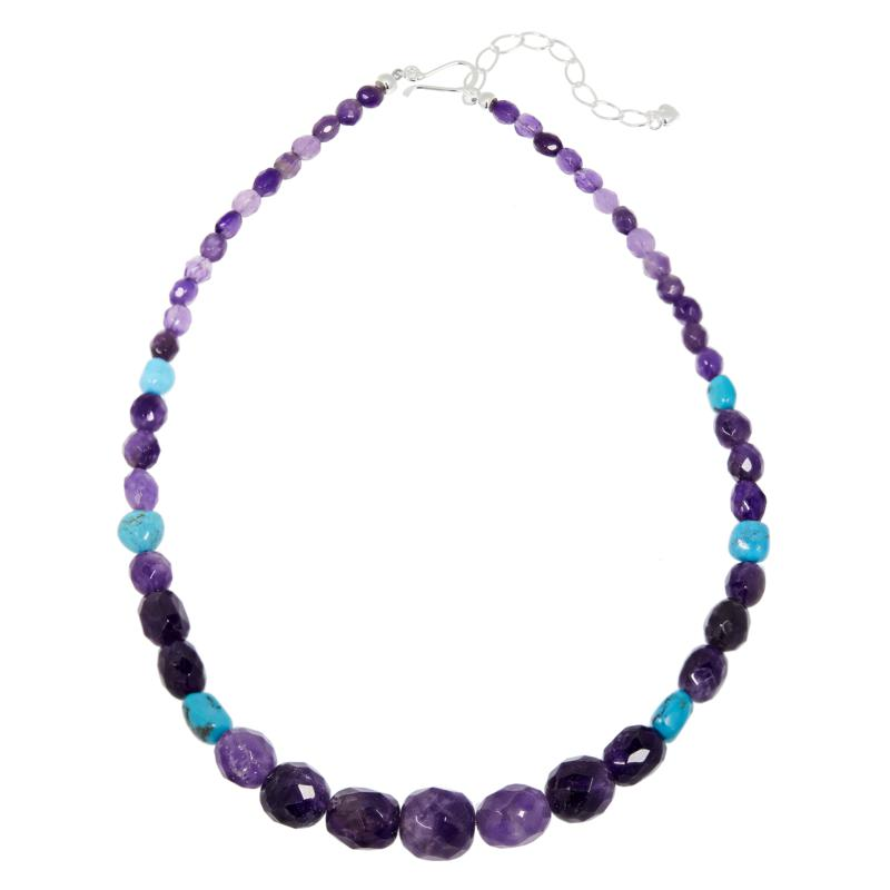 Purple and Black Gemstone Necklace Beautiful Amethyst Beaded Necklace