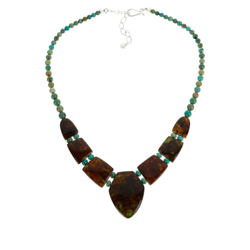 Jay King Azure Peaks Turquoise and Amber Reversible Station Necklace