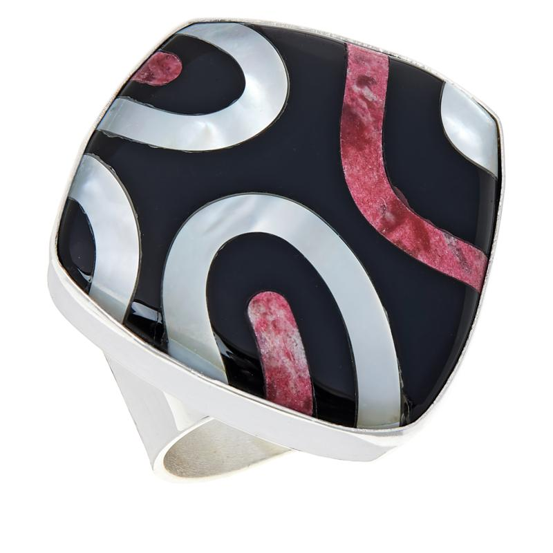 Jay King Designer Gallery Sterling Silver Multi-Gemstone Inlay Ring